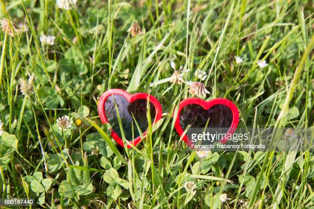 Heart-shaped sunglasses on a green meadow