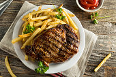 Hearty Homemade Steak and French Fries Ready to Eat