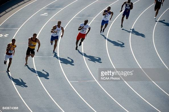 Heat one of the men's 200 meter dash takes place during the Division I Men's and Women's Outdoor Track and Field Championship held at Drake Stadium...