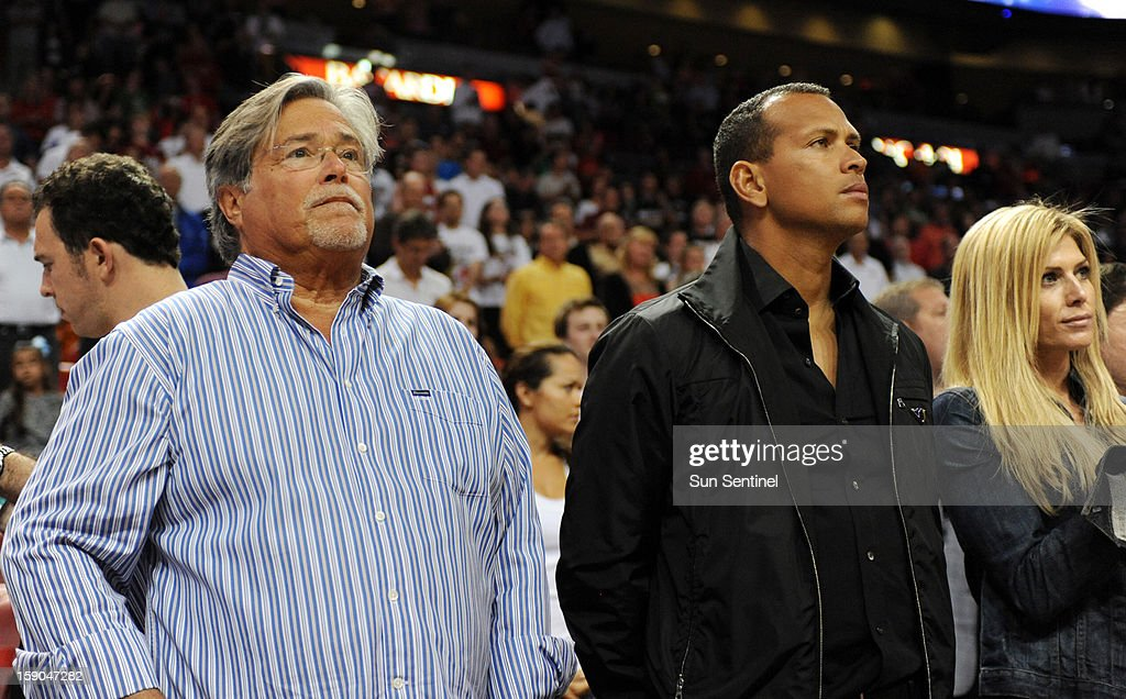 Heat owner Micky Arison stands next to Alex Rodriguez of the New York Yankees as Miami faces the Washington Wizards at AmericanAirlines Arena on Sunday, January 6, 2013, in Miami, Florida. The Heat defeated the Wizards, 99-71.