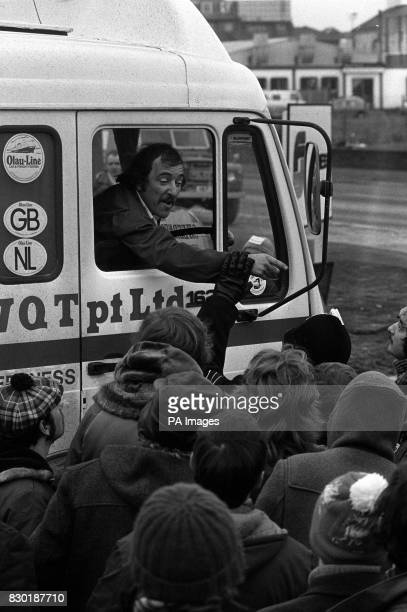 A heated argument between pickets and a lorry driver at Sheerness Steels a Canadian owned private steel plant on the Isle of Sheppey where workers...