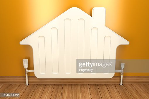 Heater radiator on yellow wall in house. 3d image : Foto de stock