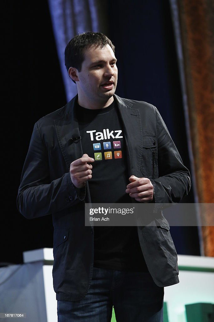 Heath Aherns presents Talkz onstage at the TechCrunch Disrupt NY 2013 at The Manhattan Center on April 30, 2013 in New York City.