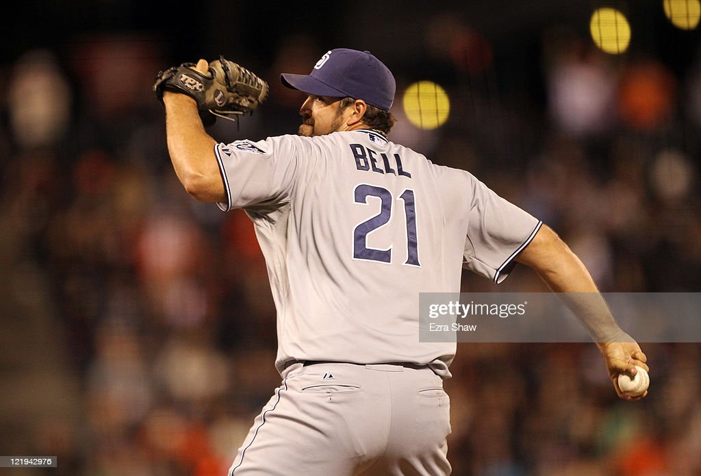 <a gi-track='captionPersonalityLinkClicked' href=/galleries/search?phrase=Heath+Bell&family=editorial&specificpeople=243211 ng-click='$event.stopPropagation()'>Heath Bell</a> #21 of the San Diego Padres pitches against the San Francisco Giants at AT&T Park on August 23, 2011 in San Francisco, California.