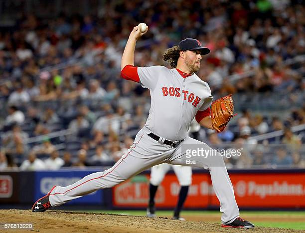 Heath Hembree of the Boston Red Sox delivers a pitch against the New York Yankees at Yankee Stadium on July 17 2016 in the Bronx borough of New York...