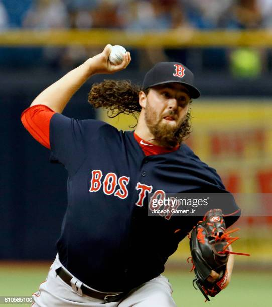 Heath Hembree of the Boston Red Sox delivers a pitch during the game against the Tampa Bay Rays at Tropicana Field on July 7 2017 in St Petersburg...
