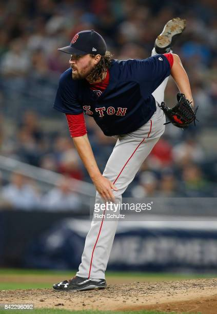 Heath Hembree of the Boston Red Sox in action against the New York Yankees during a game at Yankee Stadium on August 31 2017 in the Bronx borough of...