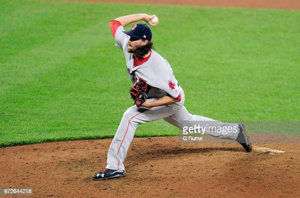 Heath Hembree of the Boston Red Sox pitches against the Baltimore Orioles at Oriole Park at Camden Yards on April 22 2017 in Baltimore Maryland