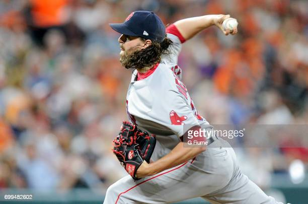 Heath Hembree of the Boston Red Sox pitches against the Baltimore Orioles at Oriole Park at Camden Yards on June 2 2017 in Baltimore Maryland