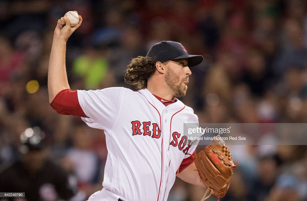 Heath Hembree #37 of the Boston Red Sox pitches against the Chicago White Sox in the ninth inning on June 22, 2016 at Fenway Park in Boston, Massachusetts.