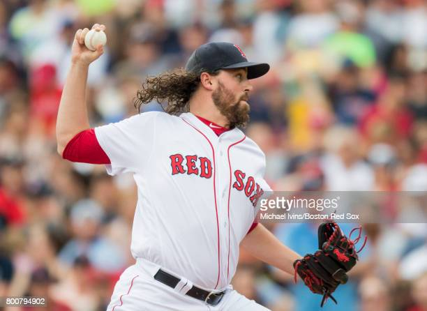 Heath Hembree of the Boston Red Sox pitches against the Los Angeles Angles of Anaheim in the seventh inning at Fenway Park on June 25 2017 in Boston...