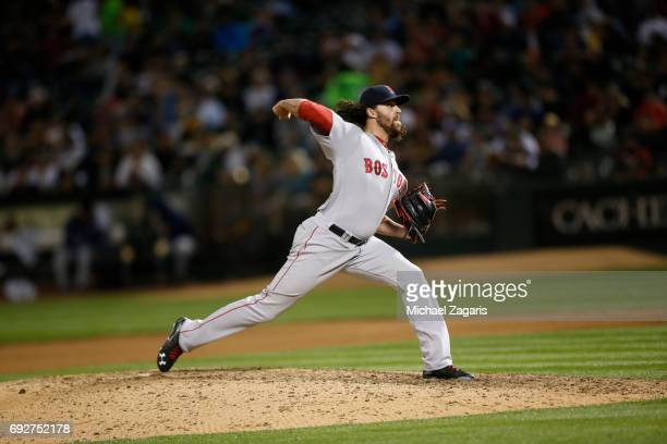 Heath Hembree of the Boston Red Sox pitches during the game against the Oakland Athletics at the Oakland Alameda Coliseum on May 19 2017 in Oakland...