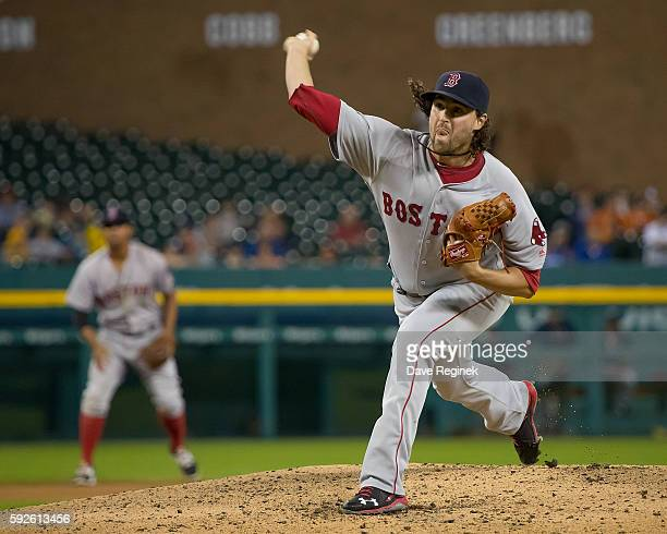 Heath Hembree of the Boston Red Sox pitches in the seventh inning during a MLB game against the Detroit Tigers at Comerica Park on August 20 2016 in...