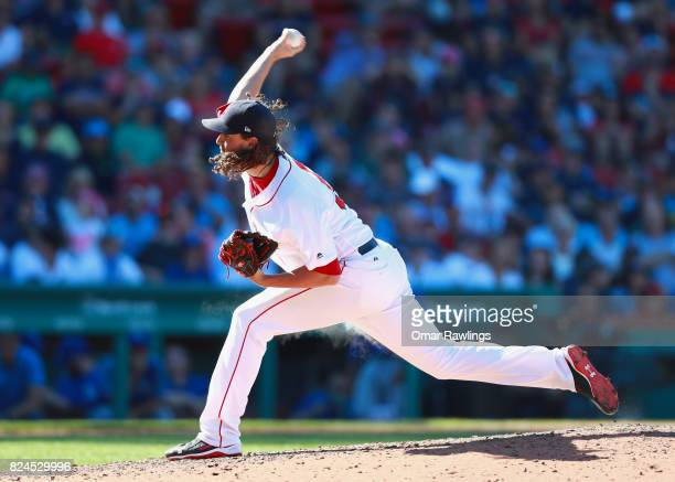 Heath Hembree of the Boston Red Sox pitches in the toip of the eighth inning during the game against the Kansas City Royals at Fenway Park on July 30...