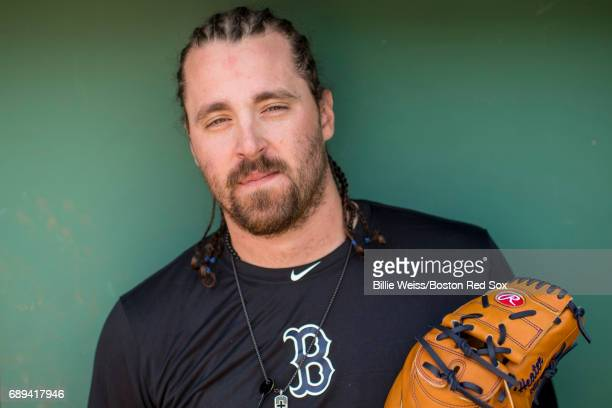 Heath Hembree of the Boston Red Sox poses for a portrait before a game against the Seattle Mariners on May 28 2017 at Fenway Park in Boston...
