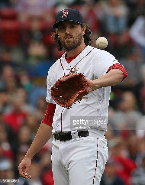 Heath Hembree of the Boston Red Sox reacts after a run scored on an error during a game with the Houston Astros in the sixth inning at Fenway Park on...