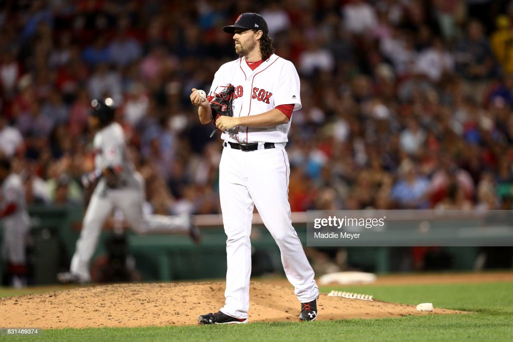 Heath Hembree #37 of the Boston Red Sox reacts after Edwin Encarnacion #10 of the Cleveland Indians hit a two run home run during the sixth inning at Fenway Park on August 14, 2017 in Boston, Massachusetts.