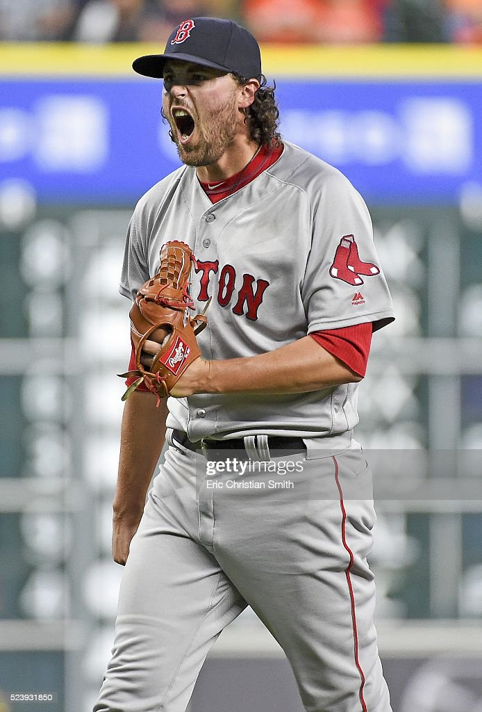 Heath Hembree #37 of the Boston Red Sox reacts after striking out Marwin Gonzalez #9 of the Houston Astros to win the game during the twelfth inning at Minute Maid Park on April 24, 2016 in Houston, Texas. Boston won 7-5.