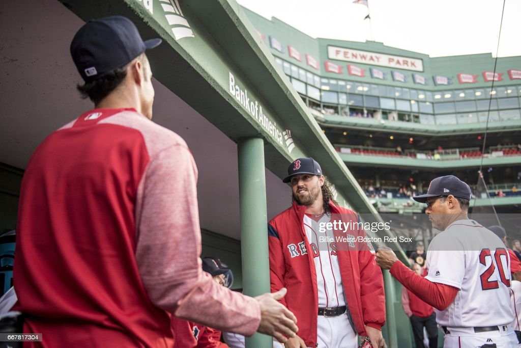 Heath Hembree #37 of the Boston Red Sox reacts before a game against the Baltimore Orioles April 12, 2017 at Fenway Park in Boston, Massachusetts.
