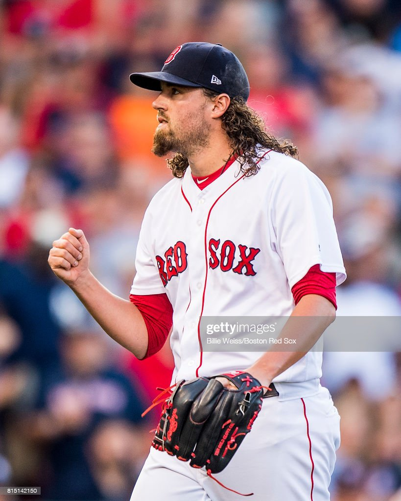 Heath Hembree #37 of the Boston Red Sox reacts during the tenth inning of a game against the New York Yankees on July 15, 2017 at Fenway Park in Boston, Massachusetts.