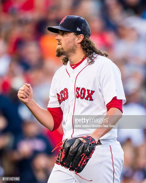 Heath Hembree of the Boston Red Sox reacts during the tenth inning of a game against the New York Yankees on July 15 2017 at Fenway Park in Boston...