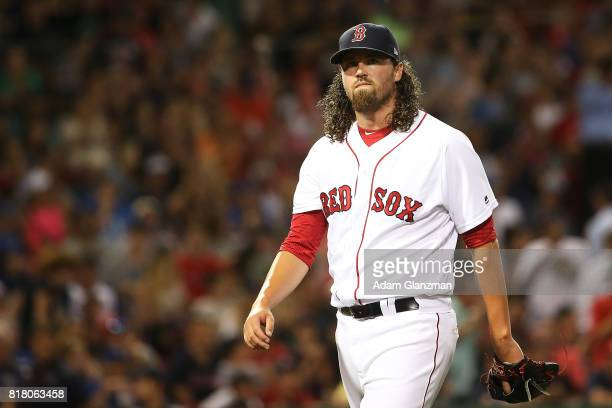 Heath Hembree of the Boston Red Sox returns to the dugout in the eighth inning of a game against the Toronto Blue Jays at Fenway Park on July 17 2017...