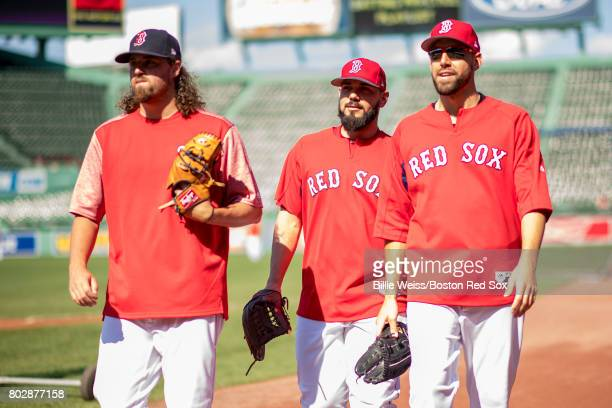 Heath Hembree Robby Scott and Matt Barnes of the Boston Red Sox walk off the field before a game against the Minnesota Twins on June 28 2017 at...