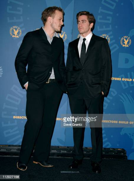 Heath Ledger and Jake Gyllenhaal during 58th Annual Directors Guild of America Awards Press Room at Hyatt Regency Century Plaza Hotel and Spa in...