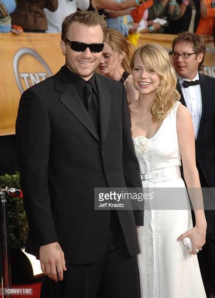 Heath Ledger and Michelle Williams during 12th Annual Screen Actors Guild Awards Arrivals at Shrine Auditorium in Los Angeles CA United States