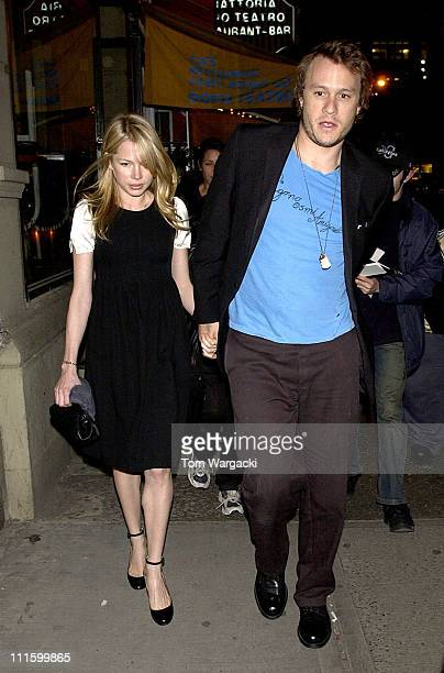 Heath Ledger and Michelle Williams during Heath Ledger and Michelle Williams Sighting at 'Awake and Sing' Opening Night April 17 2006 at Lincoln...