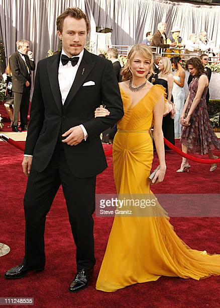 Heath Ledger and Michelle Williams during The 78th Annual Academy Awards Arrivals at Kodak Theatre in Hollywood California United States