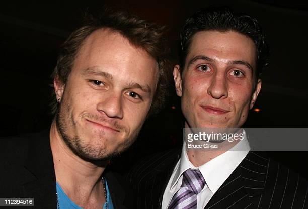 Heath Ledger and Pablo Schreiber during 'Awake and Sing' Opening Night After Party at Marriott Marquis Ballroom in New York City New York United...
