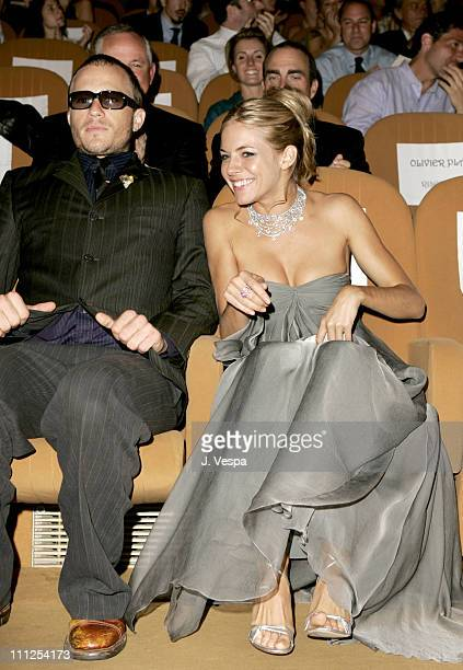 Heath Ledger and Sienna Miller during 2005 Venice Film Festival 'Casanova' Premiere Inside at Palazzo del Cinema in Venice Lido Italy