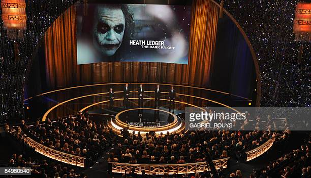 Heath Ledger appears on screen in his role as the Joker in 'The Dark Knight' winning Best Supporting Actor at the 81st Academy Awards at the Kodak...