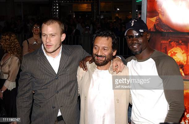 Heath Ledger Shekhar Kapur Djimon Hounsou during 'Four Feathers' Premiere at Mann Bruin in Los Angeles California United States