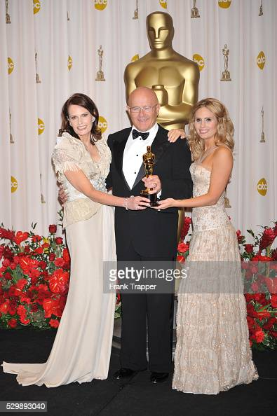 Heath Ledger's family Sally Ledger Kim Ledger and Kate Ledger hold his Oscar�� for Best Performance by an Actor in a Supporting Role for 'The Dark...