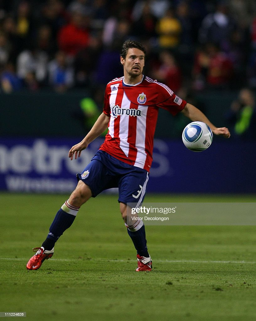 Heath Pearce of Chivas USA controls the ball during the MLS match against Sporting Kansas City at The Home Depot Center on March 19 2011 in Carson...
