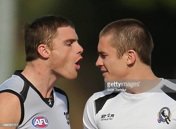Heath Shaw and Dayne Beams of the Magpies talk during a Collingwood Magpies AFL training session at Olympic Park on May 8 2013 in Melbourne Australia