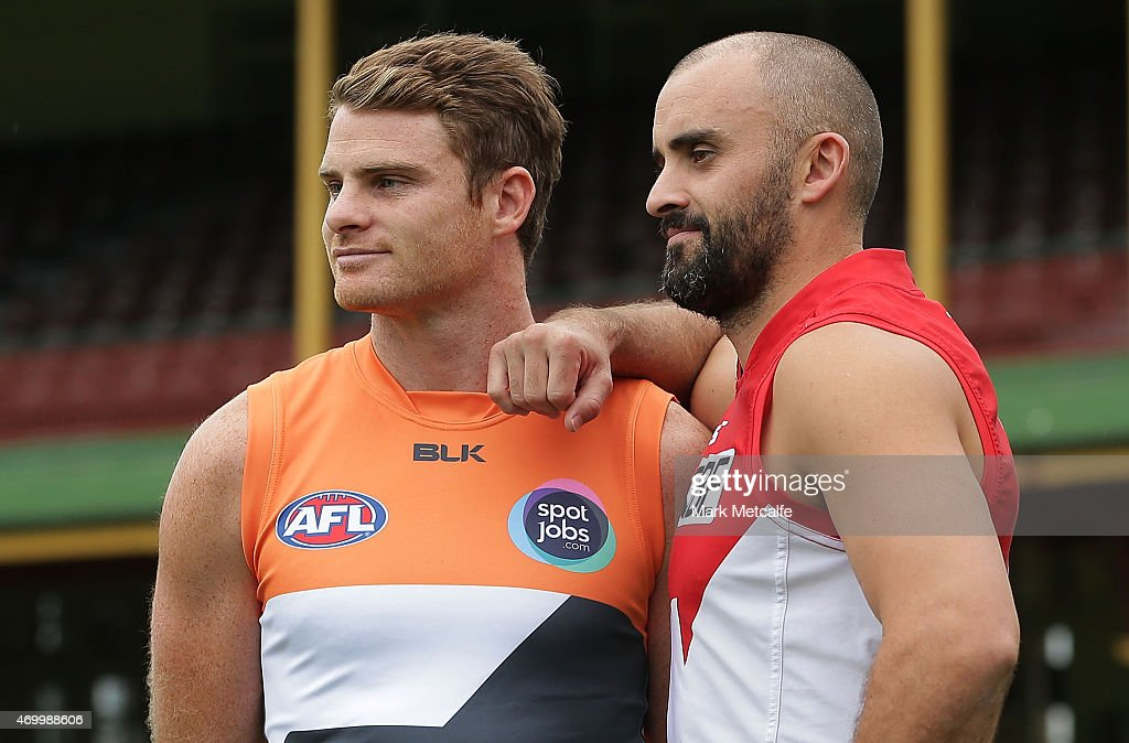 Heath Shaw of the Giants and Rhyce Shaw of the Swans pose during an AFL media opportunity at Sydney Cricket Ground on April 17, 2015 in Sydney, Australia.