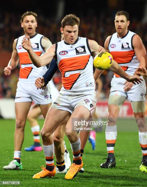 Heath Shaw of the Giants competes for the ball during the AFL First Qualifying Final match between the Adelaide Crows and the Greater Western Sydney...