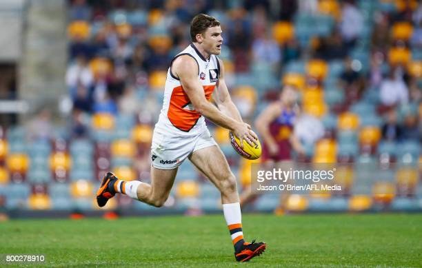 Heath Shaw of the Giants in action during the round 14 AFL match between the Brisbane Lions and the Greater Western Sydney Giants at The Gabba on...