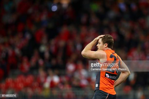 Heath Shaw of the Giants looks dejected during the round 17 AFL match between the Greater Western Sydney Giants and the Sydney Swans at Spotless...
