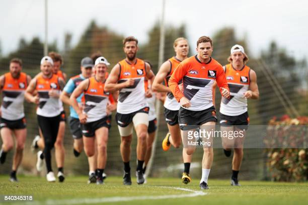 Heath Shaw of the Giants runs during a Greater Western Sydney Giants AFL training session at WestConnex Centre on August 29 2017 in Sydney Australia