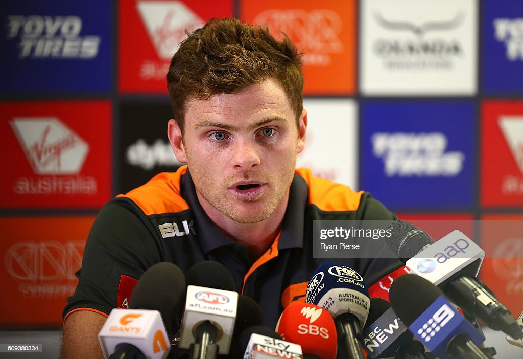Heath Shaw of the Giants speaks to the press during a GWS Giants media and training session at Spotless Stadium on September 21, 2016 in Sydney, Australia.