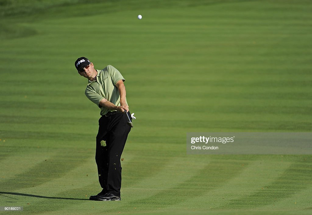 Heath Slocum chips to the 15th green during the final round of The Barclays at Liberty National Golf Club on August 30 2009 in Jersey City New Jersey