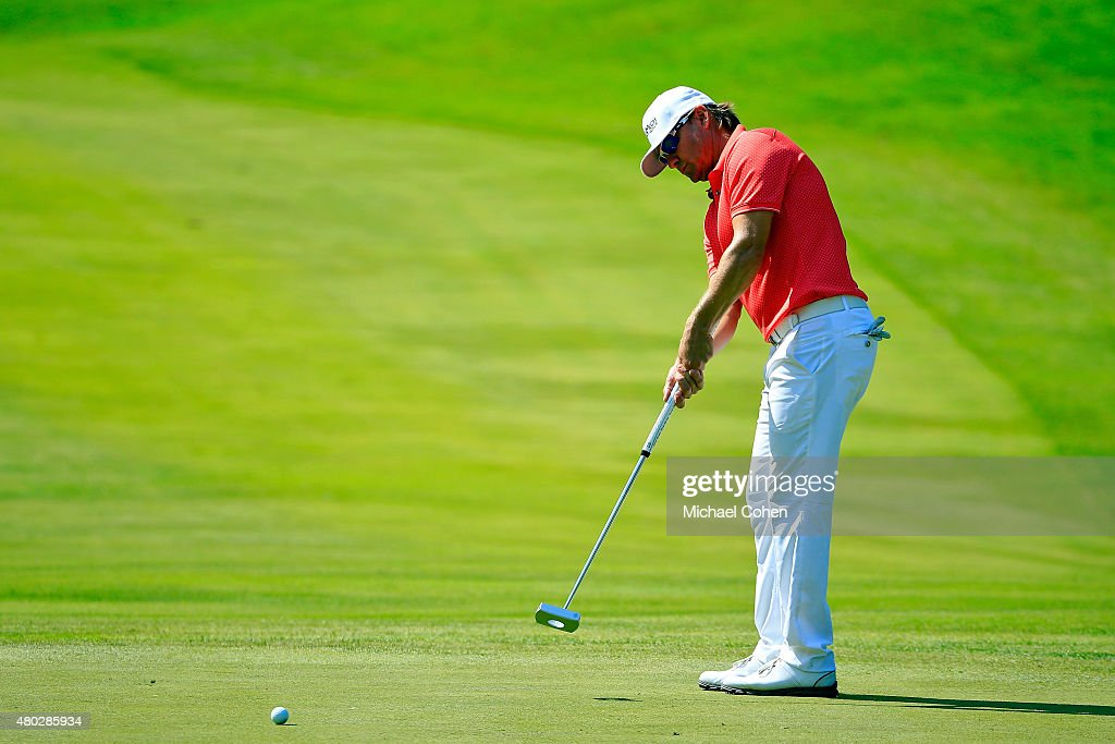 Heath Slocum putts on the ninth hole during the second round of the John Deere Classic held at TPC Deere Run on July 10, 2015 in Silvis, Illinois.