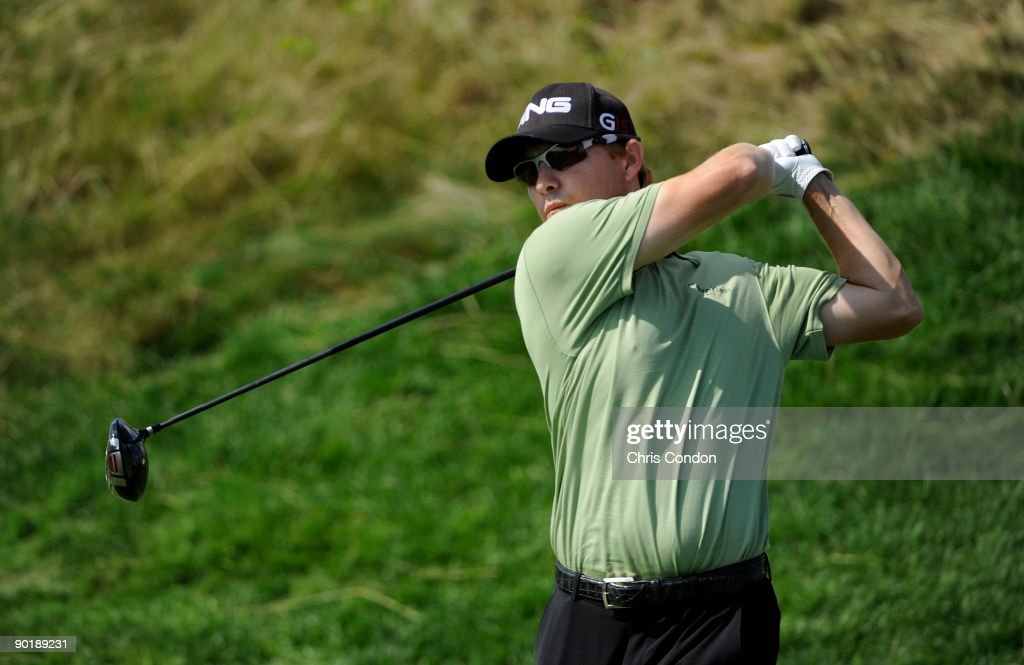 Heath Slocum tees off on during the final round of The Barclays at Liberty National Golf Club on August 30 2009 in Jersey City New Jersey
