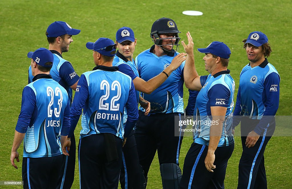 <a gi-track='captionPersonalityLinkClicked' href=/galleries/search?phrase=Heath+Streak&family=editorial&specificpeople=217334 ng-click='$event.stopPropagation()'>Heath Streak</a> of Leo Lions celebrates the wicket of Richard Levi of Gemini wit his team-mates during the Final match of the Oxigen Masters Champions League between Gemini Arabians and Leo Lions at the Dubai International Cricket Stadium on February 13, 2016 in Dubai, United Arab Emirates.