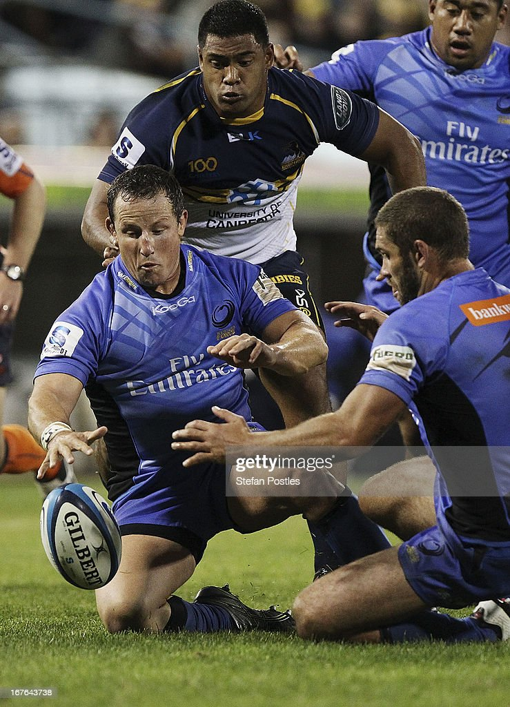 Heath Tessmann of the Force dives on a loose ball during the round 11 Super Rugby match between the Brumbies and the Force at Canberra Stadium on April 27, 2013 in Canberra, Australia.