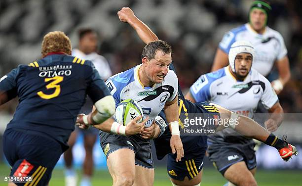 Heath Tessmann of the Western Force on the charge during the round six Super Rugby match between the Highlanders and the Western Force at Forsyth...